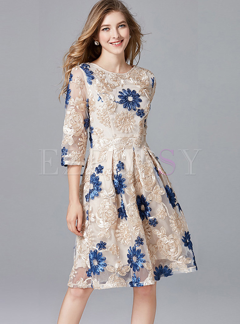 Three Quarters Sleeve Mesh Embroidered Dress