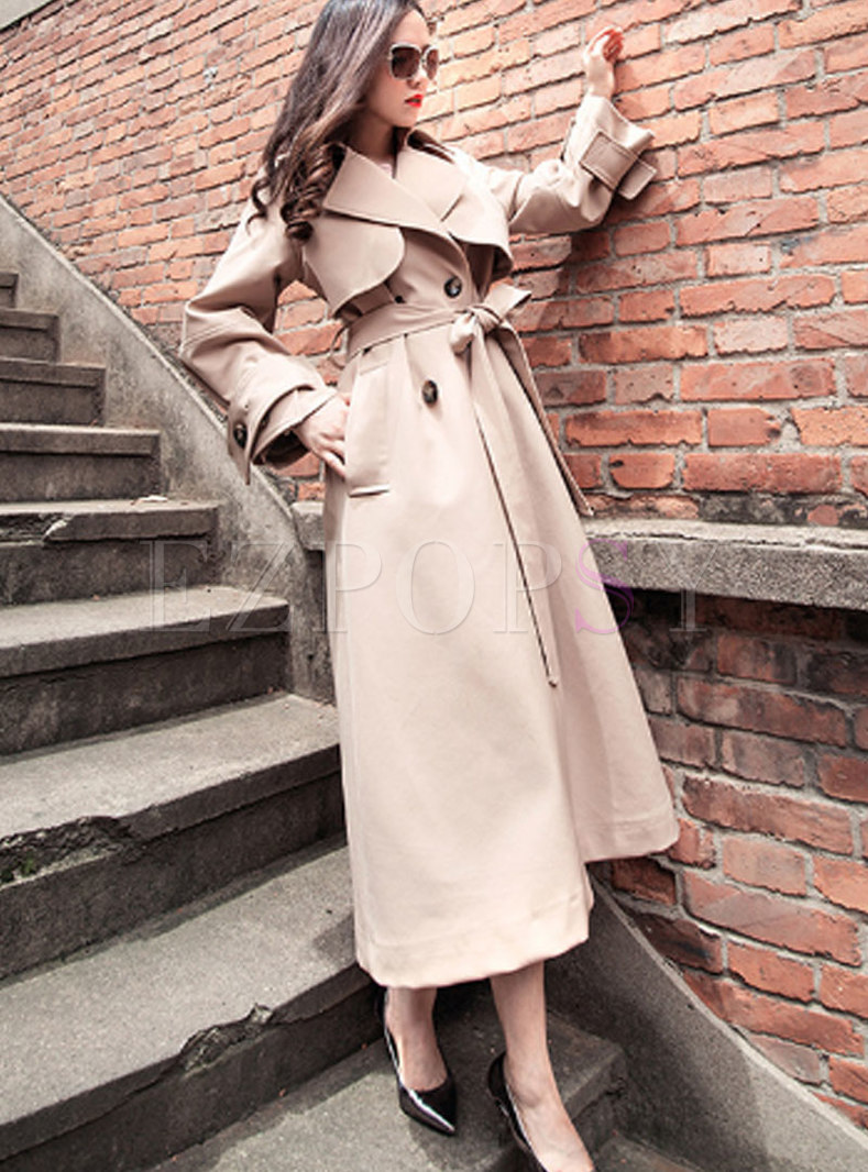 Khaki Double-breasted Self-tie Trench Coat