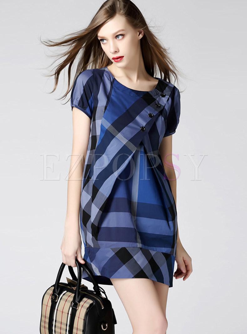 Cotton Short Sleeve Plus Size Plaid Mini Dress
