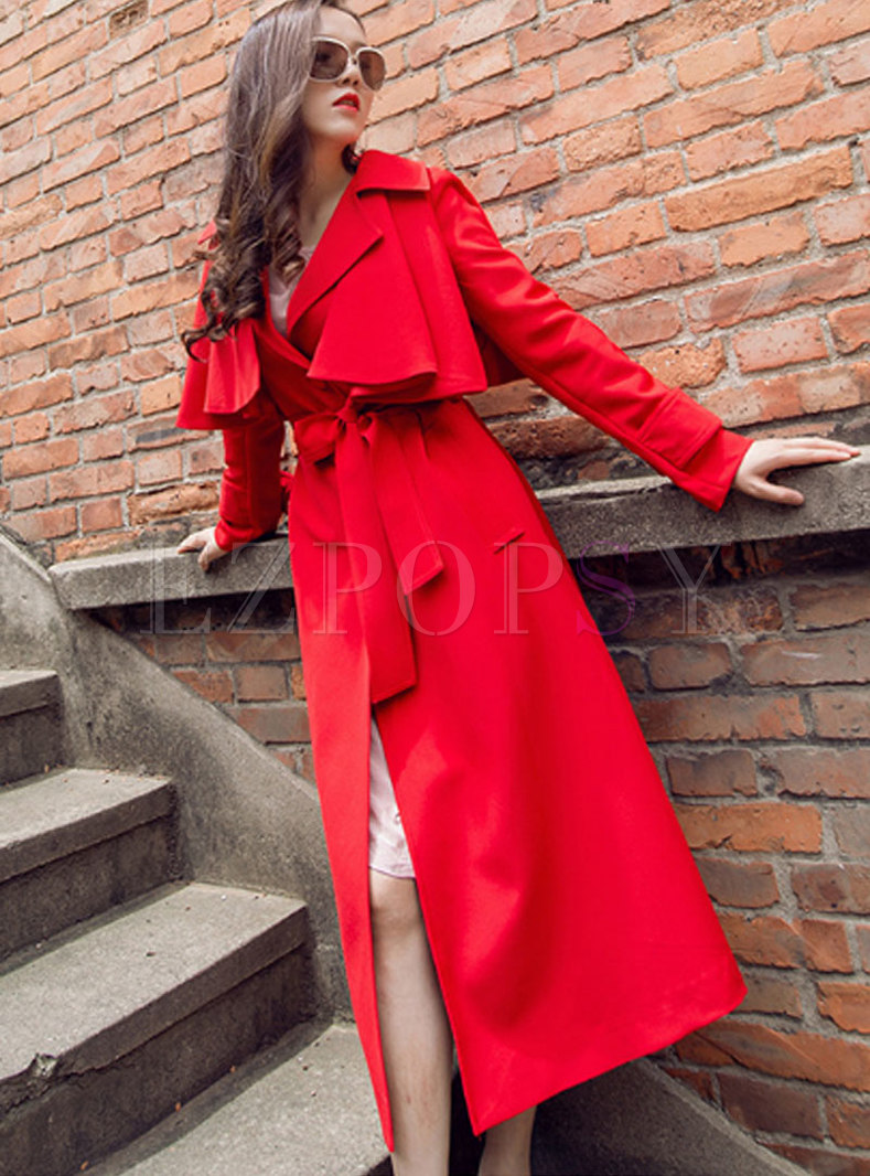Red Turn-down Collar Single-breasted Straight Coat