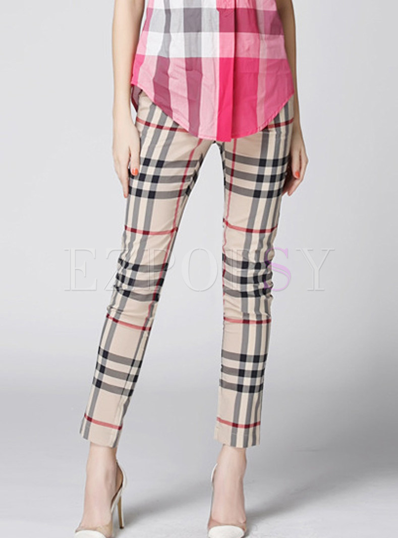 Stylish Plaid Cotton Slim Sheath Pants