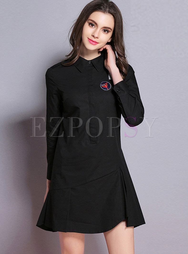 Turn Down Collar Long Sleeve Asymmetric Hem Dress