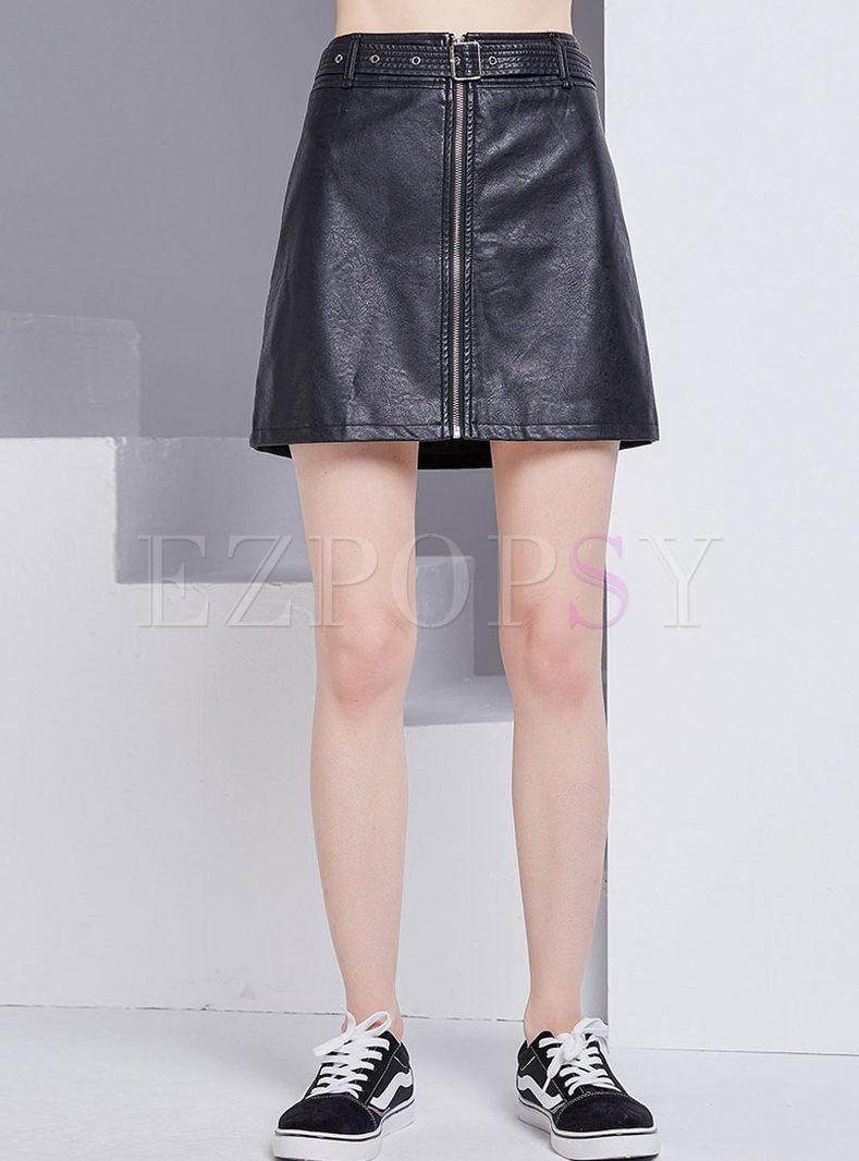 PU Belted Zippered Mini Skirt
