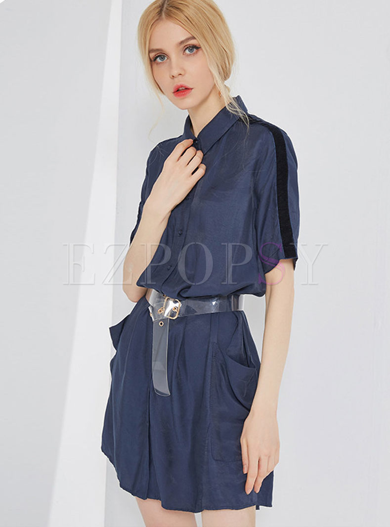 Brief Splicing Single-breasted Belted Blouse