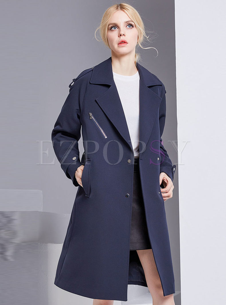 Stylish Solid Color Single-breasted Belted Trench Coat