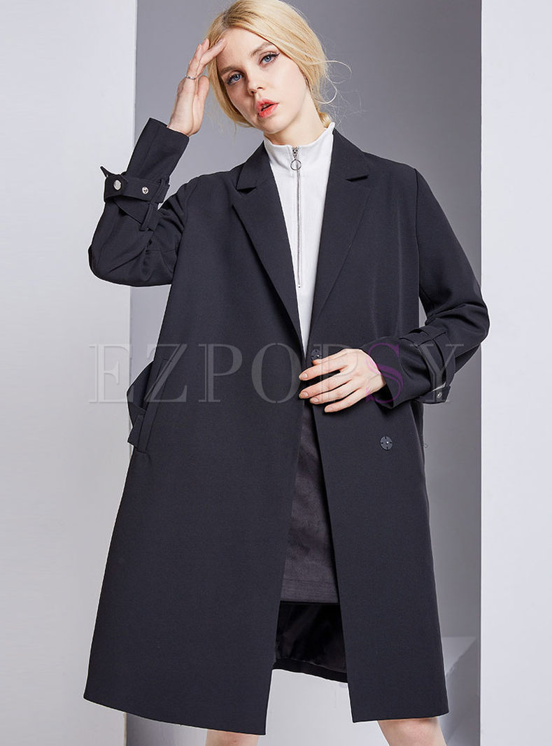 Loose Black Turn Down Collar Trench Coat