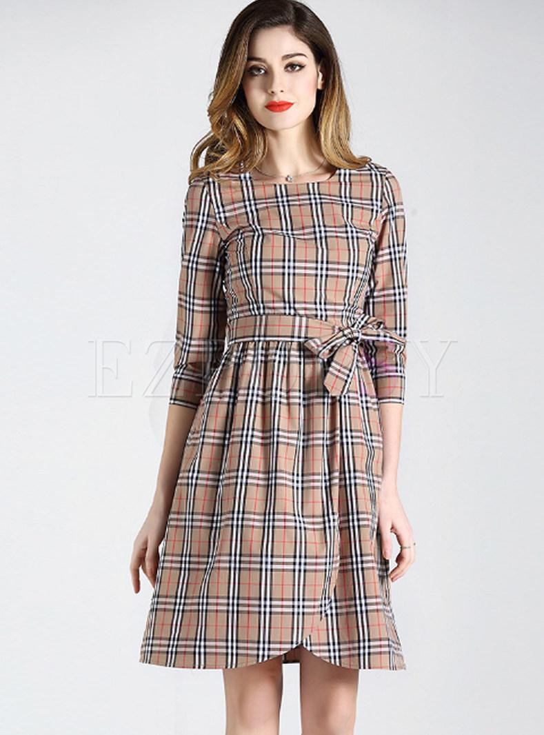 Three Quarters Sleeve Cotton Plaid Tie-waist Dress