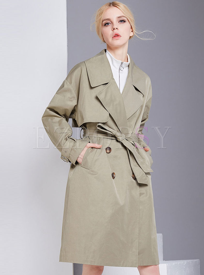 Stylish Double-breasted Turn Down Collar Trench Coat