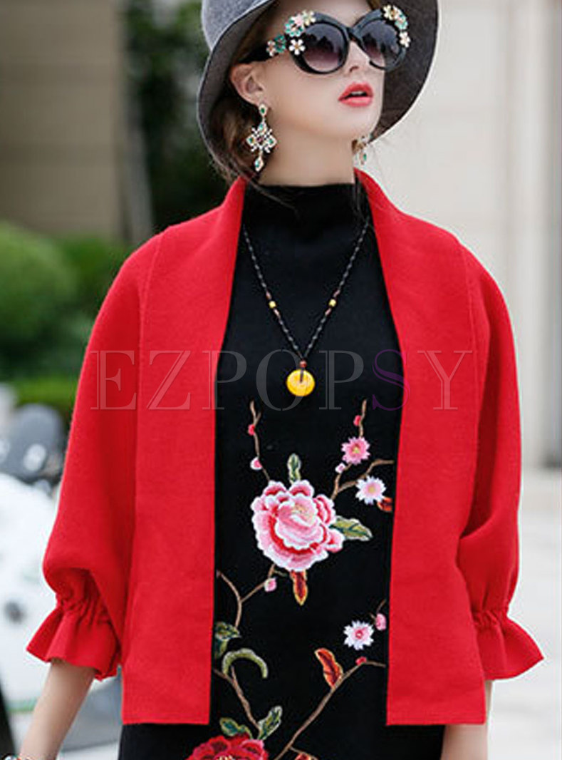 Dolman-Sleeve Solid Color Cardigan Short Coat