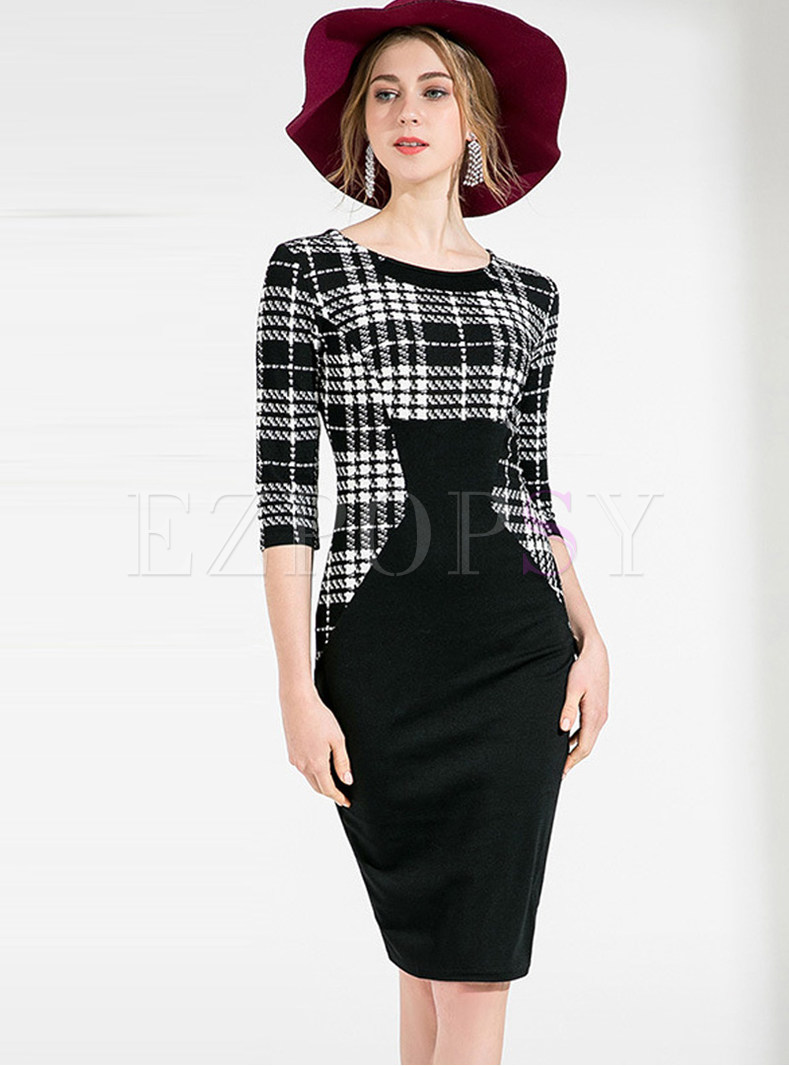 Sexy Slim Plaid Splicing Pure Color Dress
