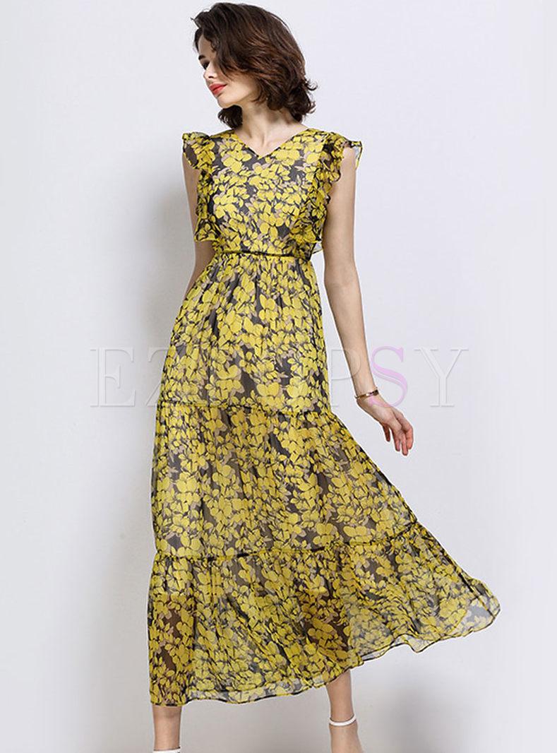 Bohemia Print Sleeveless High Waist Maxi Dress