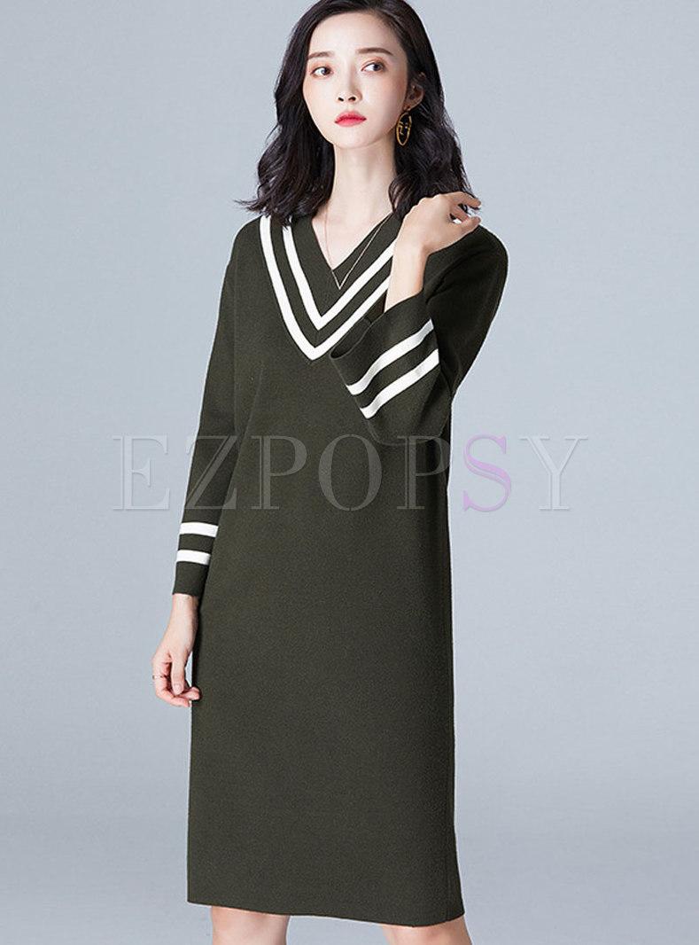 Chic Vintage Loose Striped Sleeve Dress