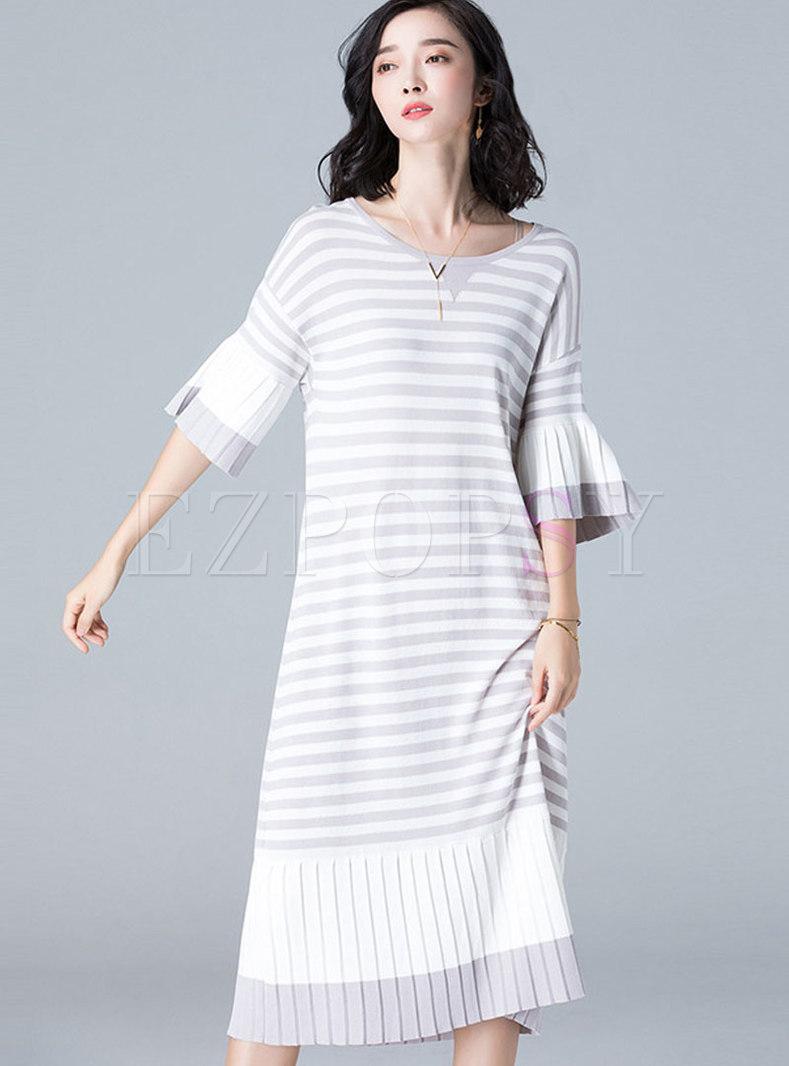 Fashion Flare Sleeve Plus Size Striped Dress