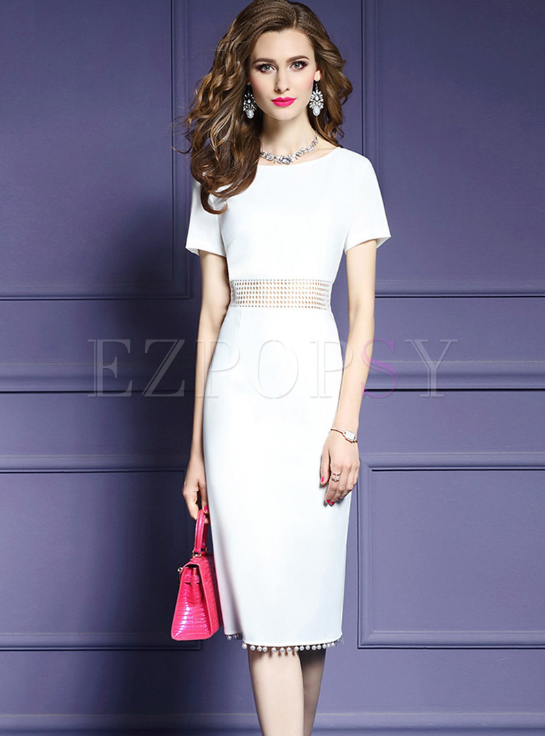 Fashion O-neck Hollow Out High Waist Slim Dress