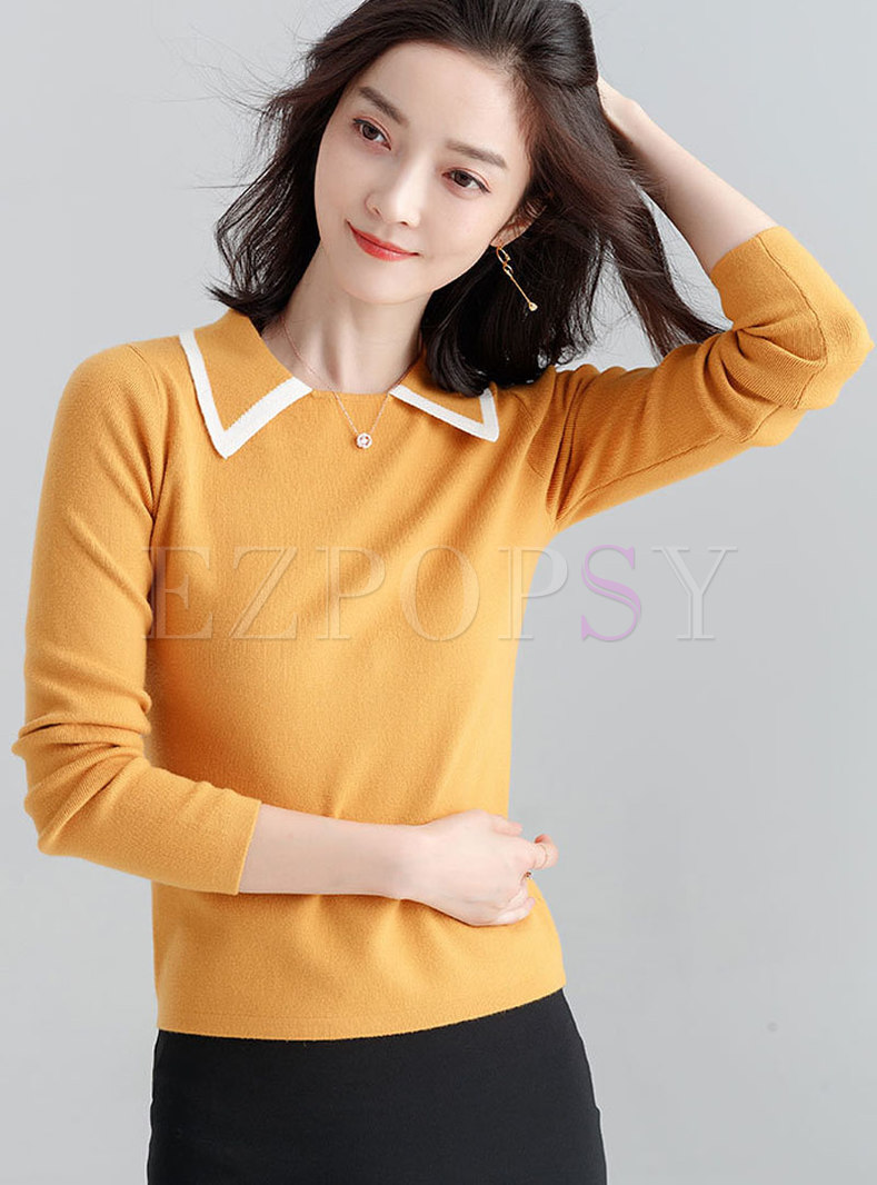 Stylish Contrast-Collar Long Sleeve Shift Sweater