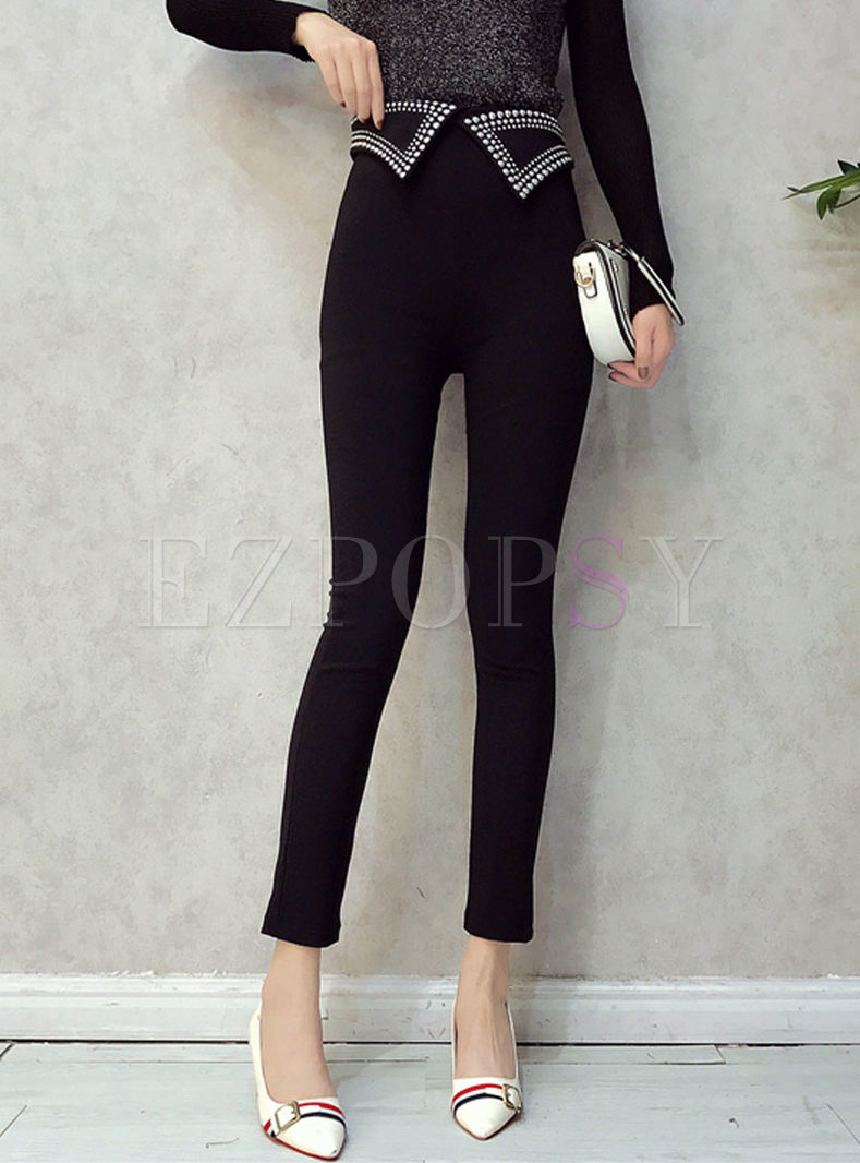 Black High Waist Drilling Slim Pencil Pants