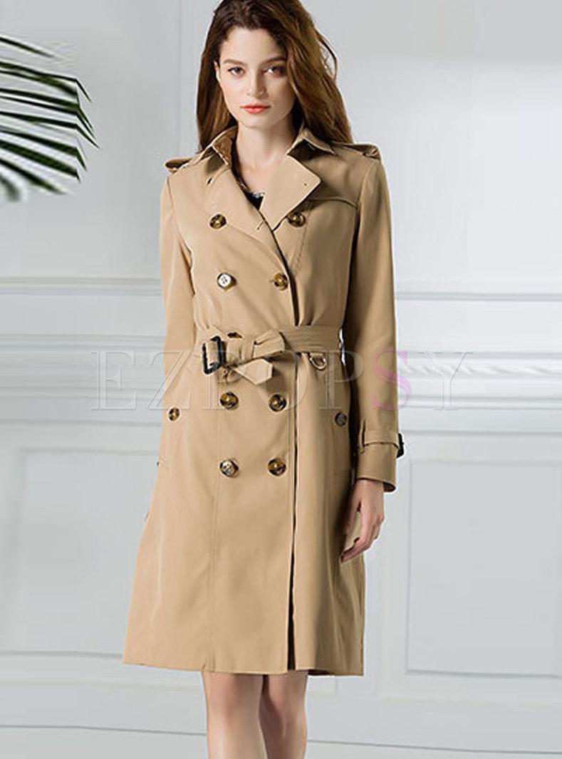 Khaki Lapel Tie Waist Trench Coat With Slit Hem