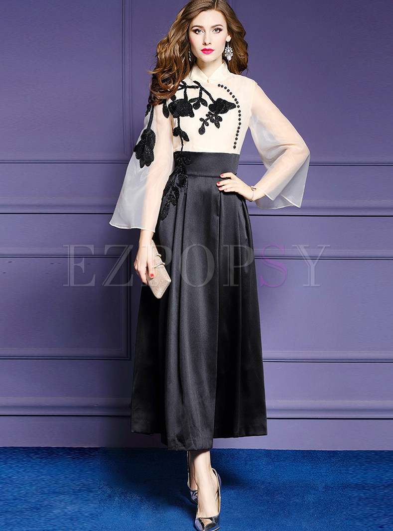 Mandarin Collar Long Sleeve Patchwork Maxi Dress