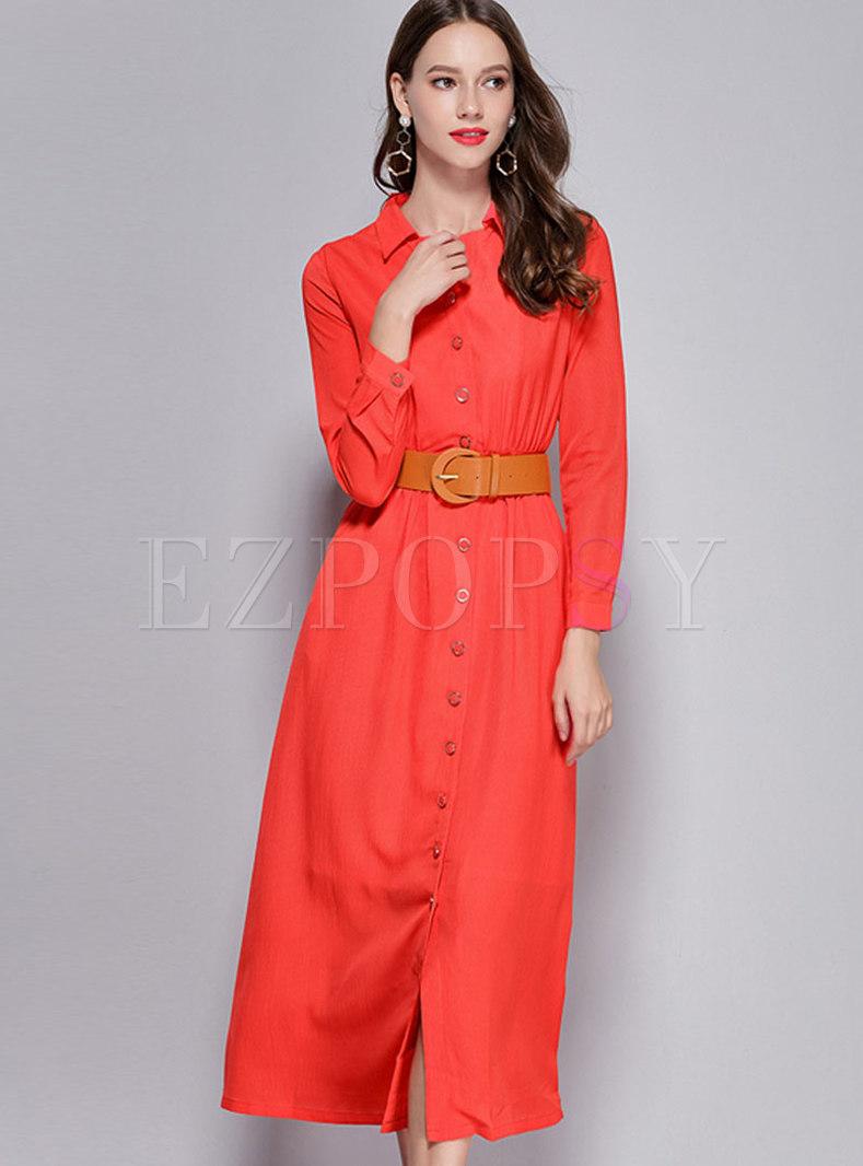 Trendy Red Long Sleeve Tie-waist Big Hem Maxi Dress