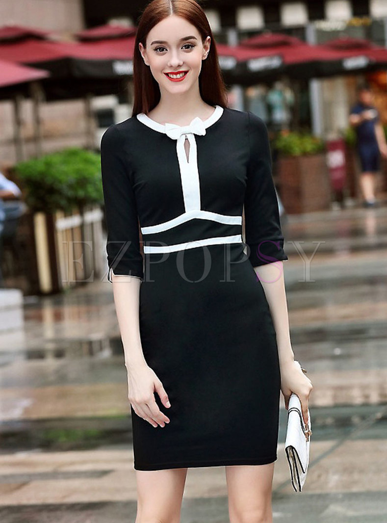 Tie-neck Bowknot Black-white Blocked Knitted Dress