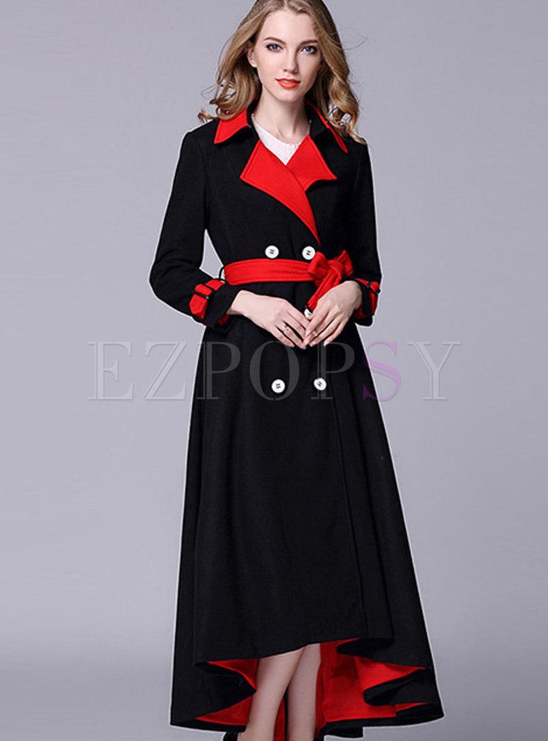 Black-red Blocked Double-breasted Wool Irregular Hem Coat