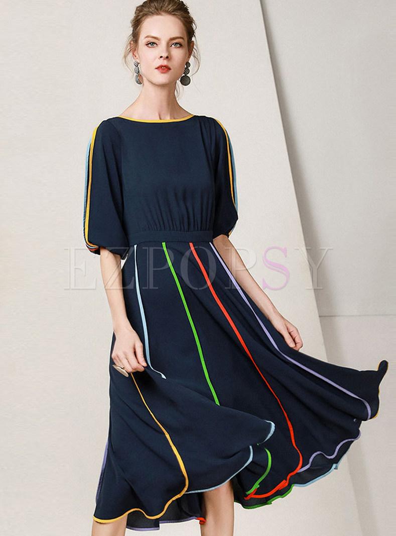 Chic Color-blocked Half Sleeve Chiffon Dress