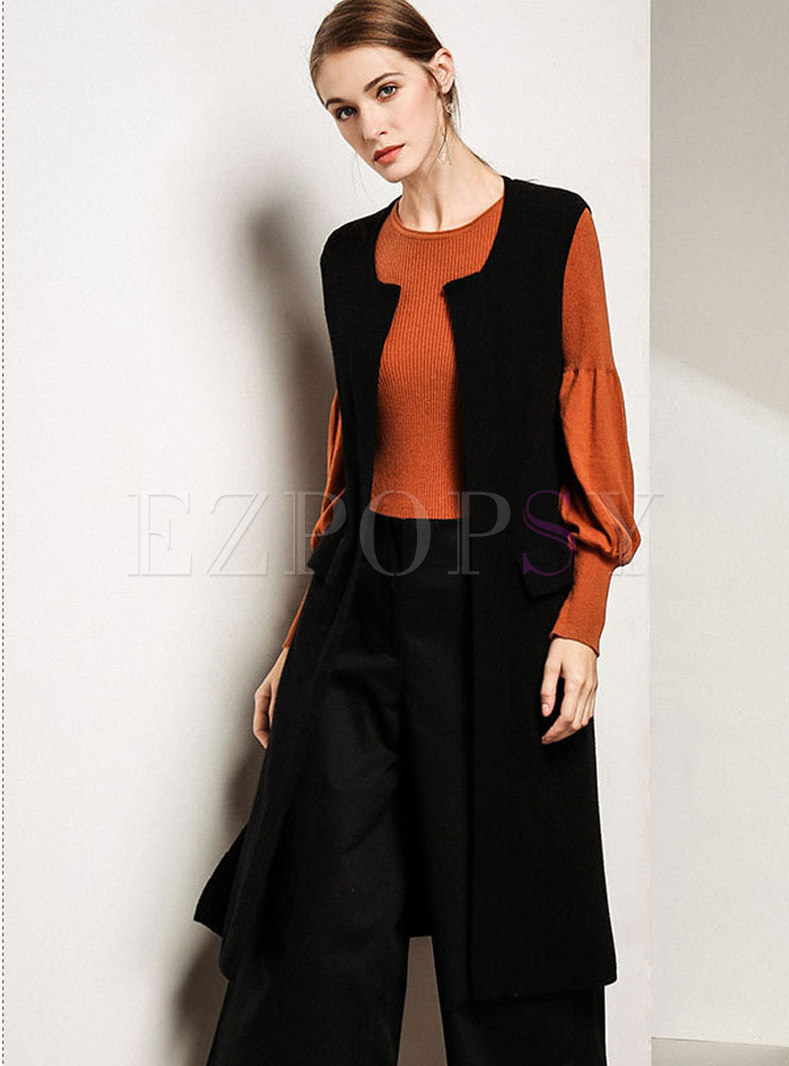 Trendy Black Sleeveless Knee-length Vest Knitted Cardigan