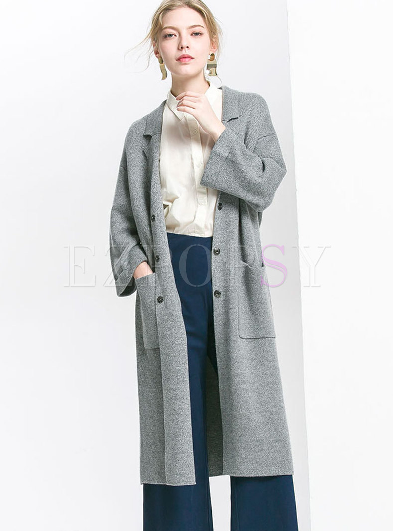 Elegant Autumn Grey Loose Cardigan With Pockets