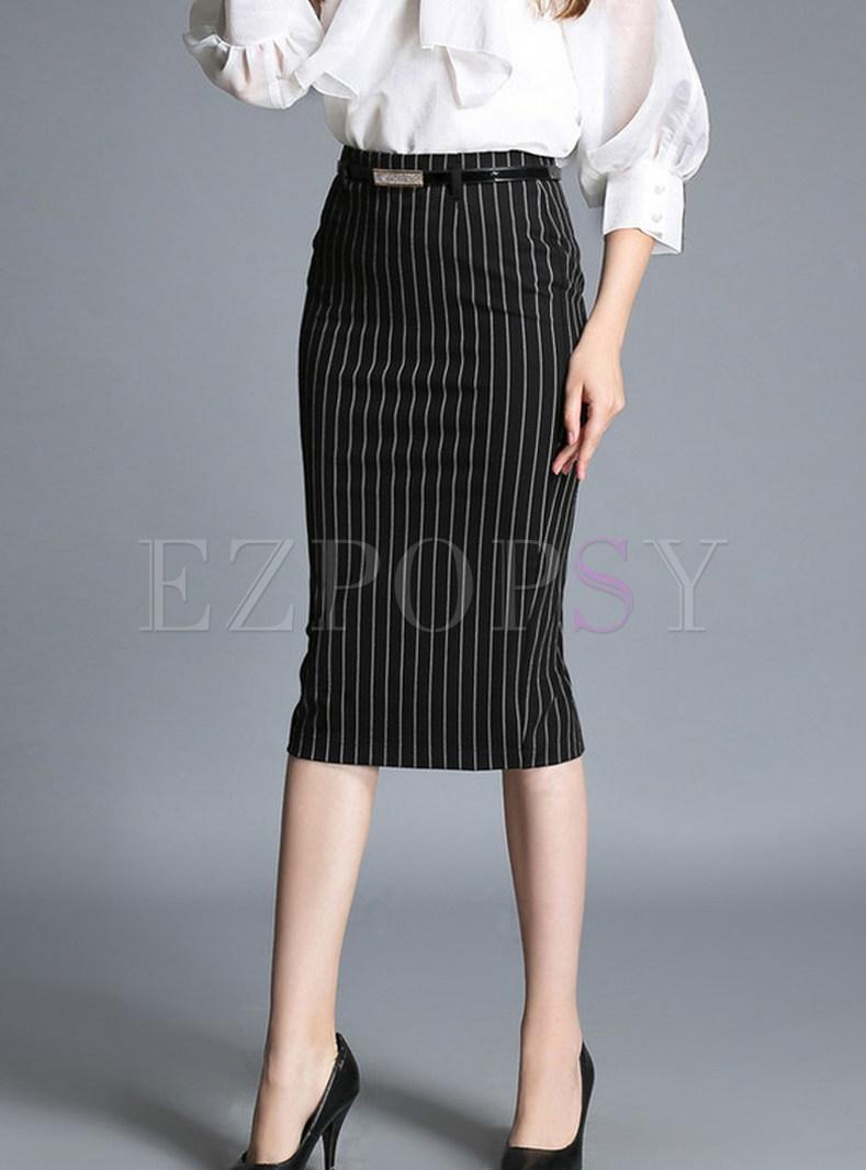 Stylish Striped Slit Sheath Pencil Skirt
