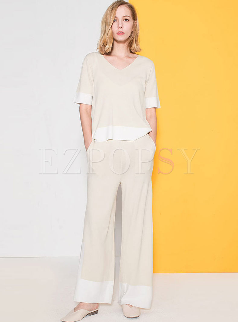 Casual Color-blocked V-neck Knitted Top & High Waist Wide Leg Pants