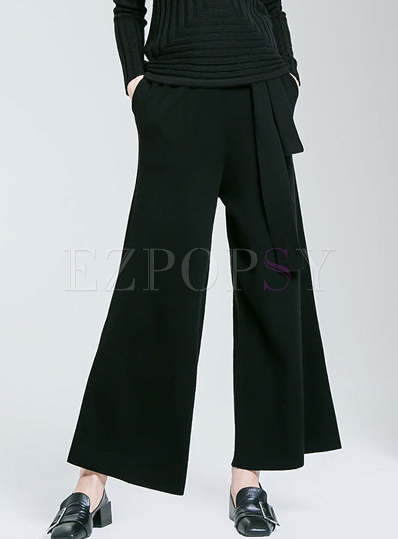 Solid Color Belted Wide Leg Pants