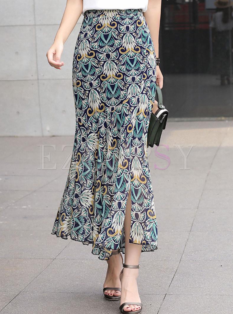 fa0b95af5 Skirts | Skirts | High Waist Floral Slit Mermaid Maxi Skirt
