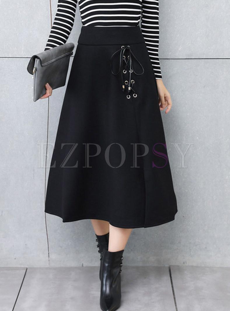 Casual High Waist Tied Slit Maxi Skirt