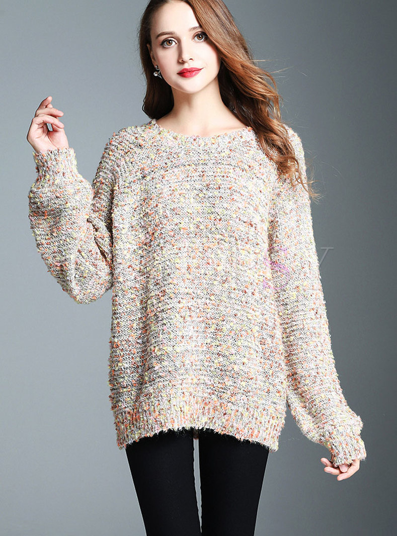 Casual Multicolor Round Neck Loose Knitted Sweater