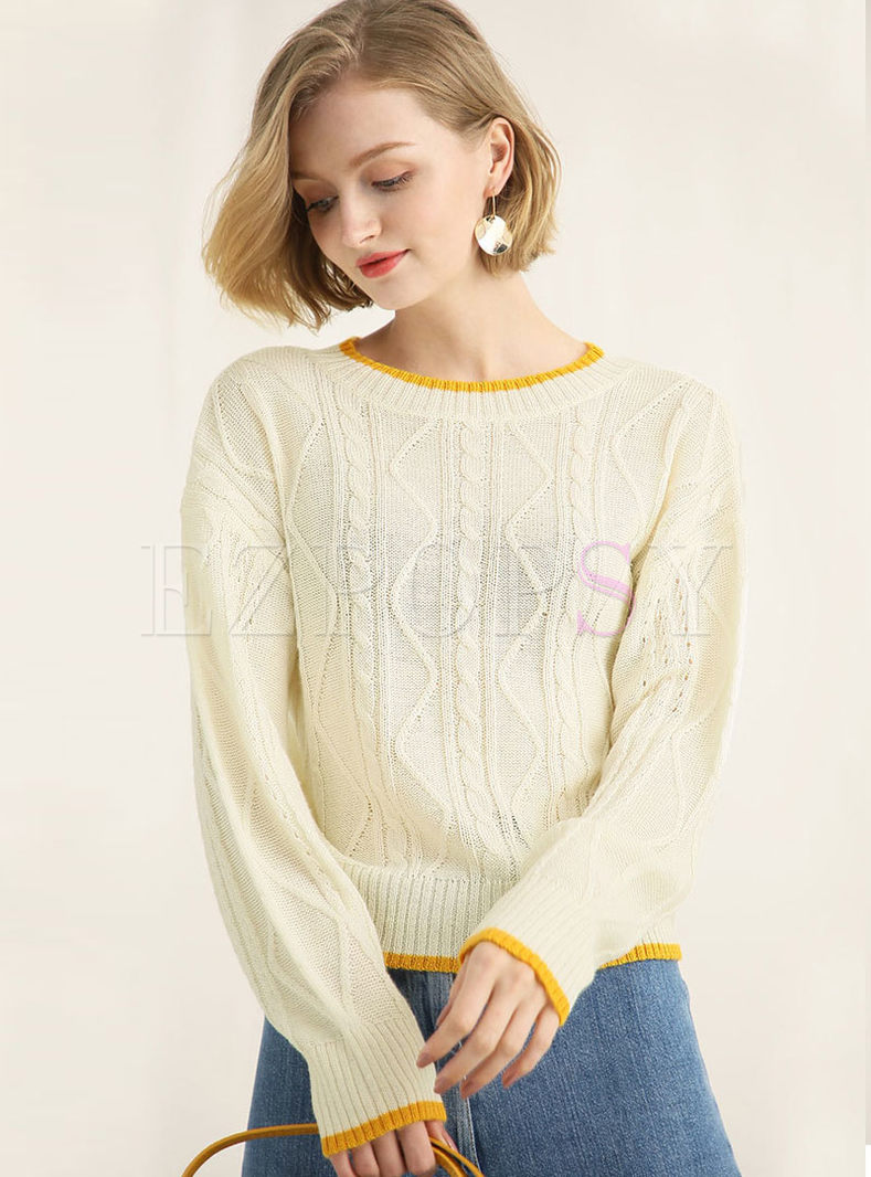 Loose Color-blocked O-neck Knitted Sweater