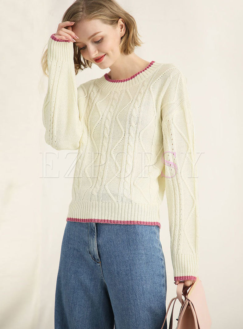 Color-blocked Mock Neck Knitted Sweater