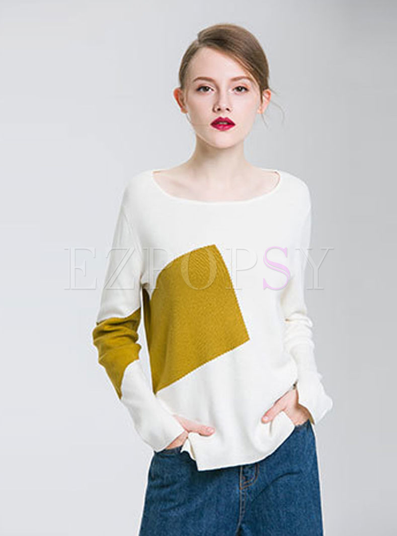 Hit Color Asymmetric Slit Knitted Sweater