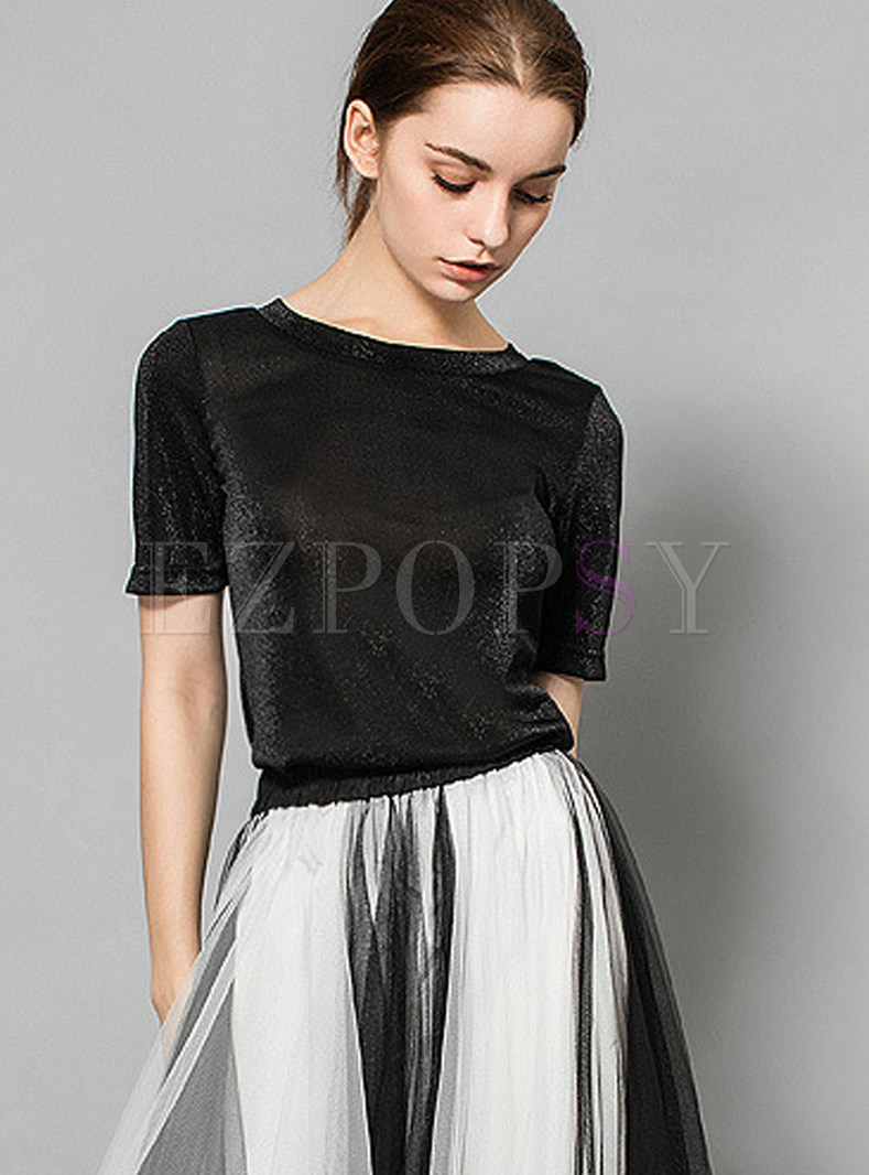 O-neck Short Sleeve Backless Slim Blouse