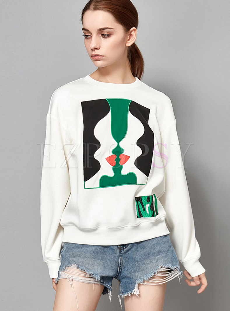 White Trendy Cloth Splicing Loose Sweatshirt