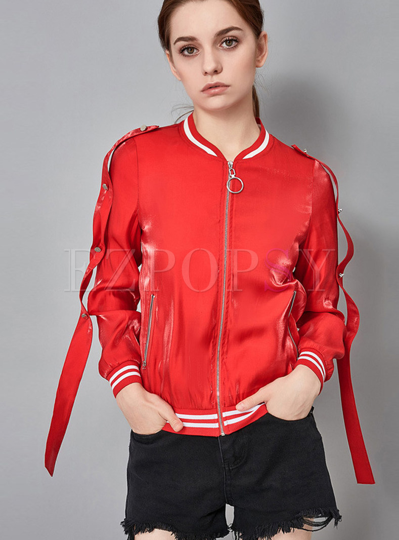 Red Ribbon Zippered Slim Jacket With Pockets
