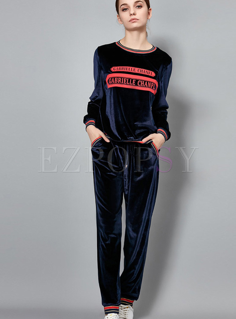 Navy O-neck Long Sleeve Letter Print Two Piece Outfits