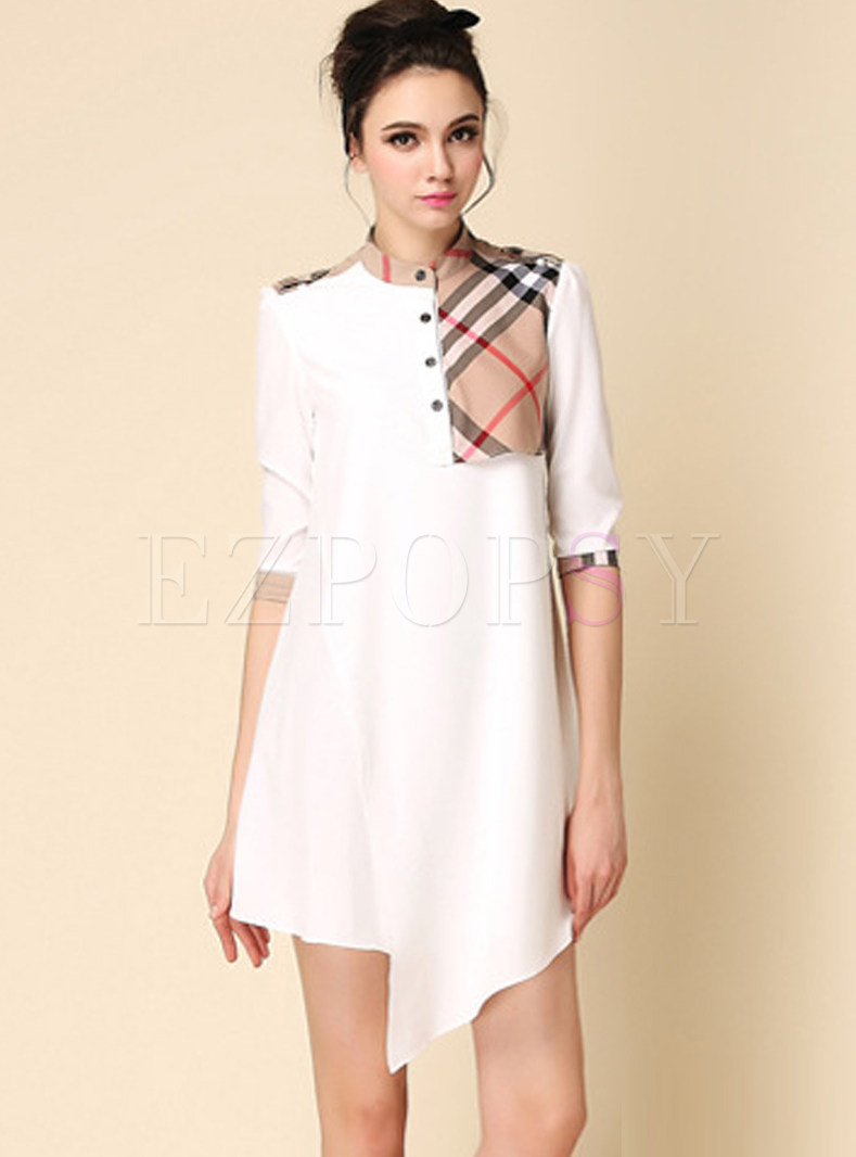 Brief White Standing Collar Plaid Asymmetric Hem Dress