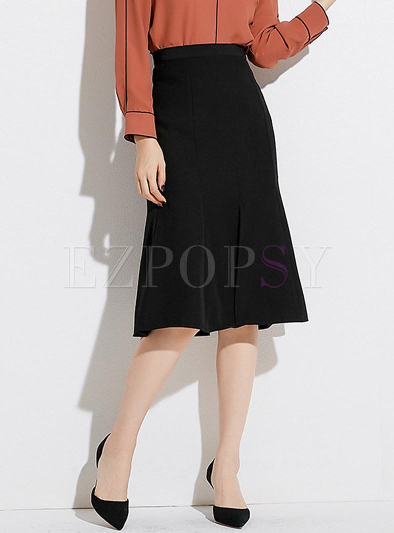 Stylish Black High Waist Midi Fishtail Hem Split Skirt