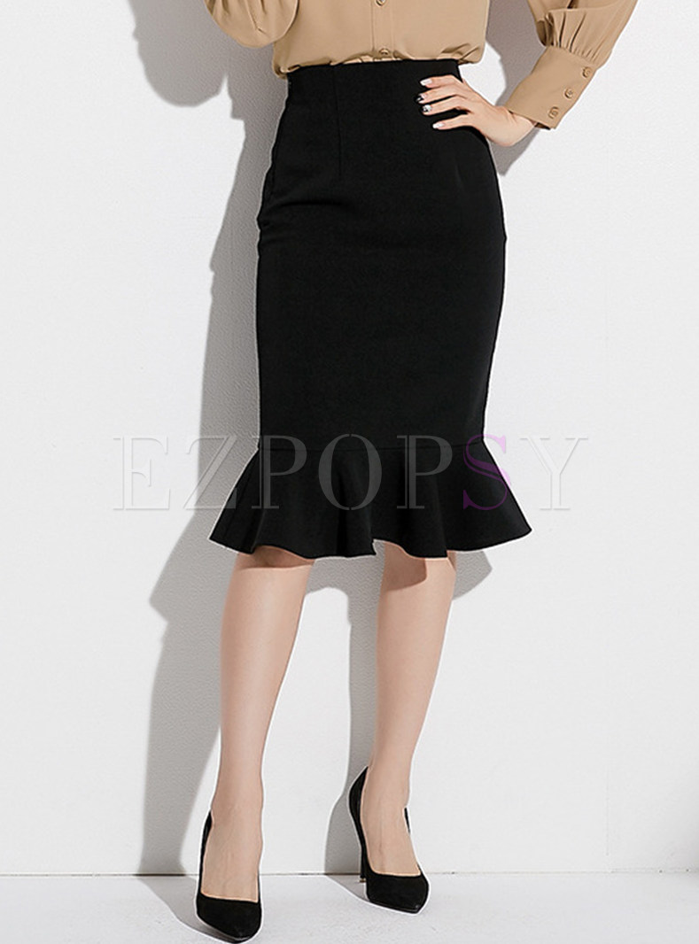 Solid Color High Waist Sheath Mermaid Skirt