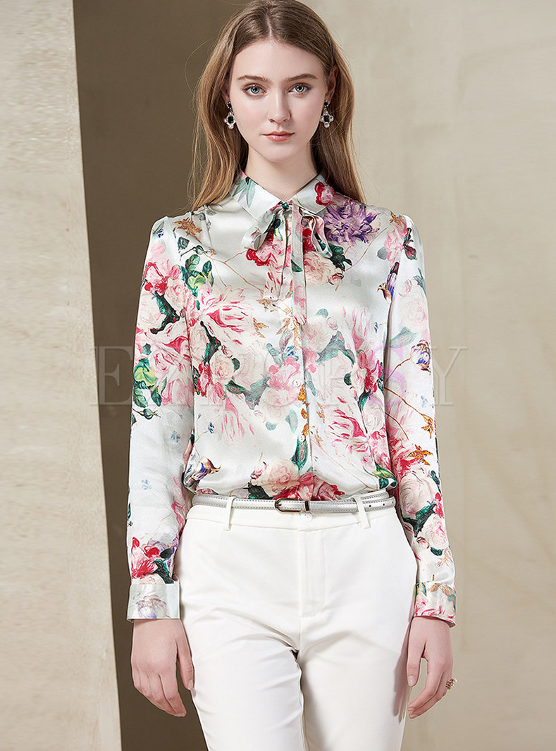 Turn-down Tied Collar Single-breasted Silk Blouse