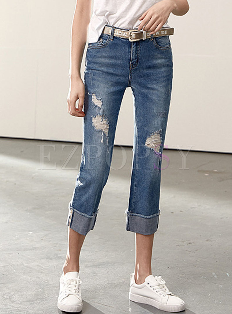Chic Blue Denim Ripped Straight Pants With Tipped Hem