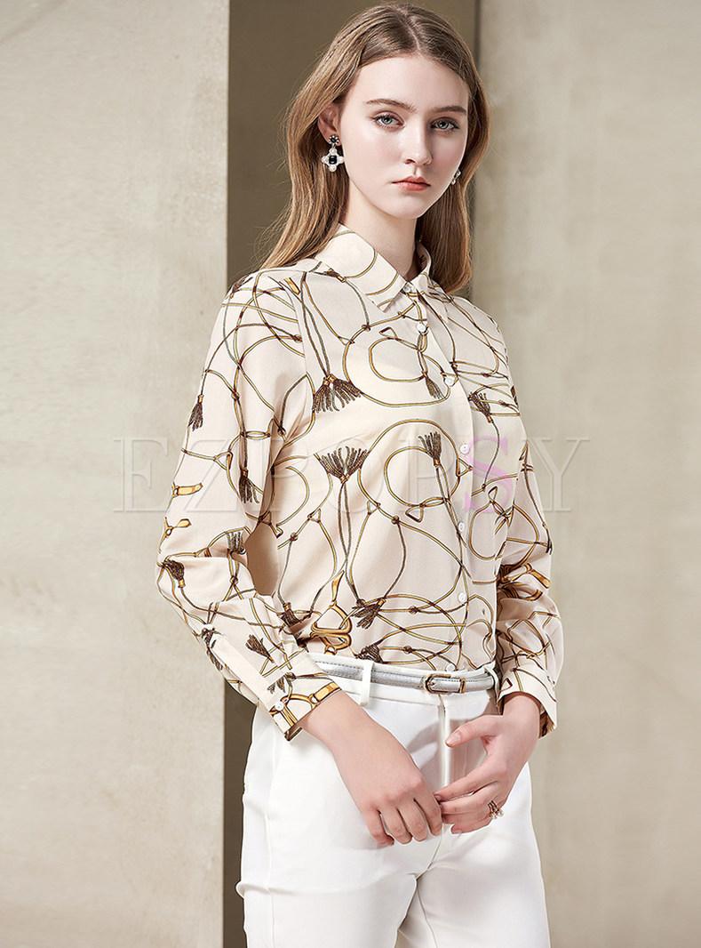 Print Lapel Single-breasted Silk Blouse