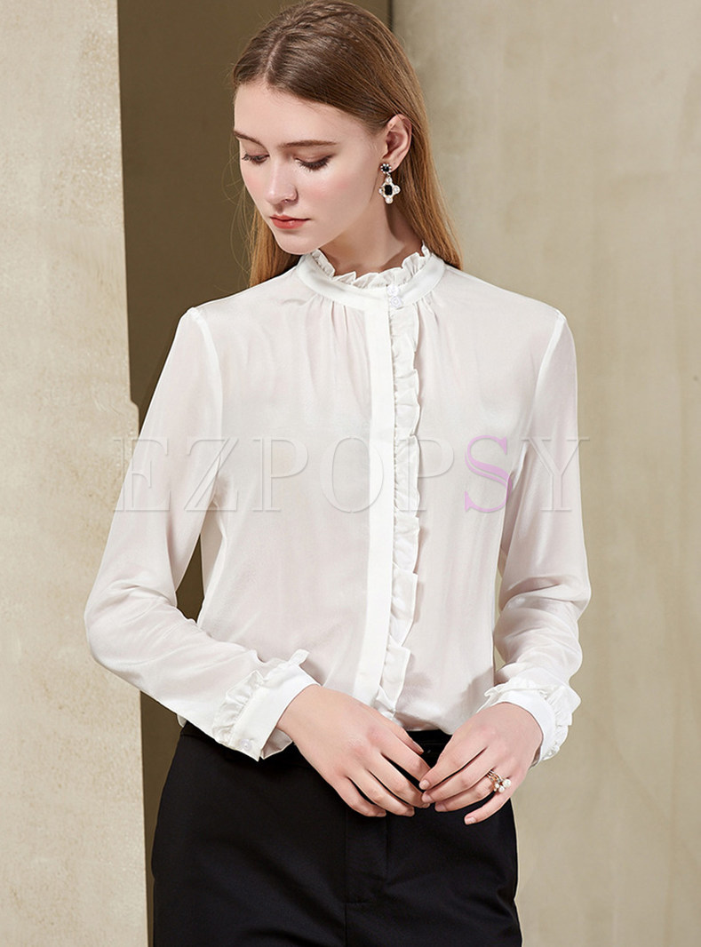 Brief White Slim Stand Collar Falbala Blouse