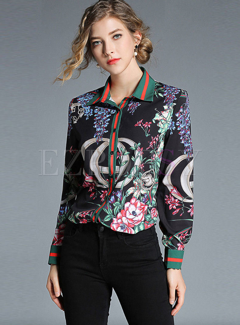 Color-blocked Print Lapel Single-breasted Blouse