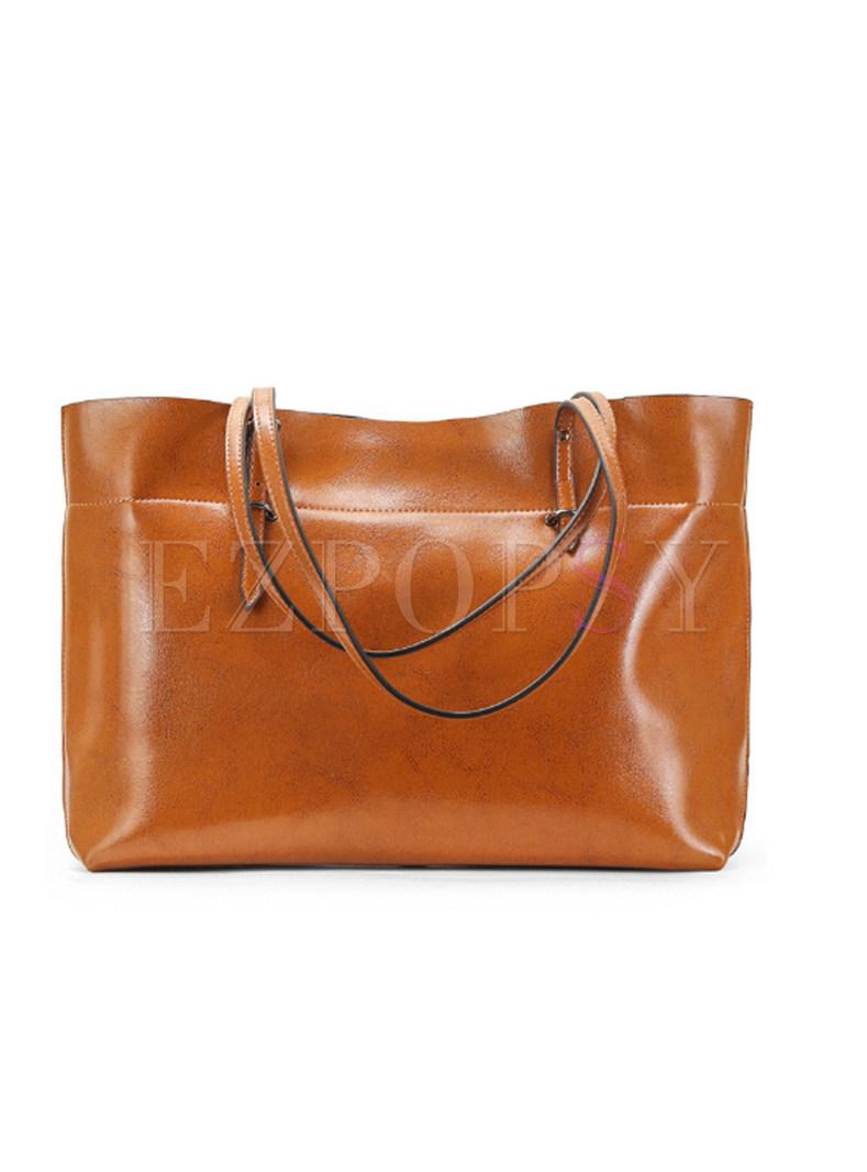 Brown Cowhide Zippered Single-shoulder & Top Handle Bag